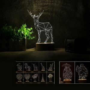 3D LED Night Lamp With Beech Base