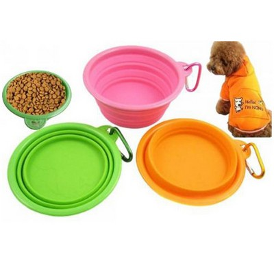 Silicone Folded Pet Bowl, Silicone Pet Expandable Travel Bowl
